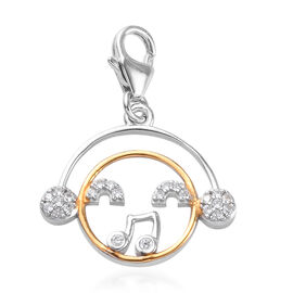 Natural Cambodian Zircon Charm in Platinum and Yellow Gold Overlay Sterling Silver 0.250  Ct.