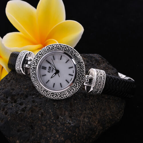 Royal Bali Collection - EON 1962 Swiss Movement Water Resistant Bracelet Watch (Size 7.5) in Sterling Silver and Stainless Steel
