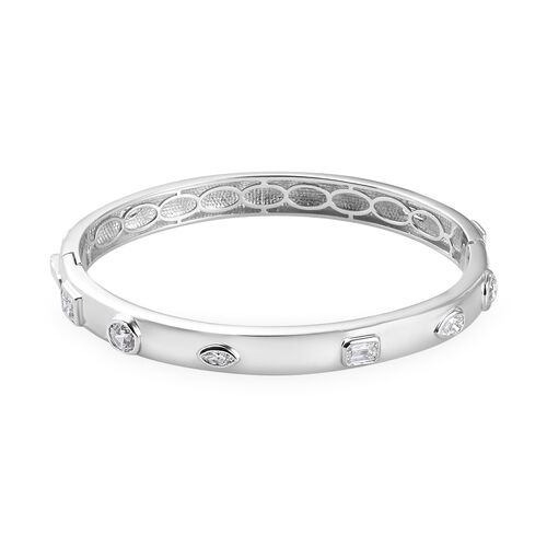 J Francis Platinum Overlay Sterling Silver Bangle (Size 7.5) Made with SWAROVSKI ZIRCONIA 9.61 Ct, S