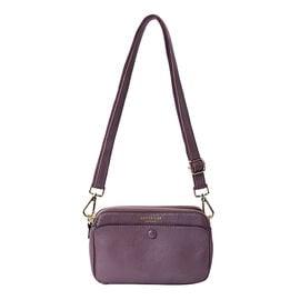 Sencillez 100% Genuine Leather Crossbody Bag with Adjustable Shoulder Strap in Purple