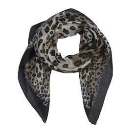 100% Mulberry Silk Leopard Print Scarf (Size 100x100 Cm) - White and Black