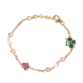 GP Fairy Tale Collection - Freshwater Pearl, Citrine and Multi Gemstone Bracelet (Size 7.5 with Exte