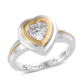 J Francis - Platinum and Yellow Gold Overlay Sterling Silver (Hrt) Heart Ring Made with SWAROVSKI ZI