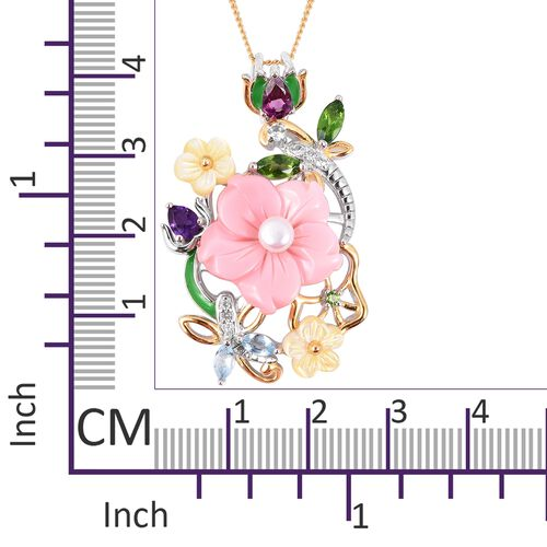 Multi Gem Stone Sterling Silver Pendant With Chain  6.475  Ct.