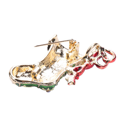Set of 2 - White AB Austrian Crystal Enamelled Christmas Theme - Santa and Stocking Filler Brooch
