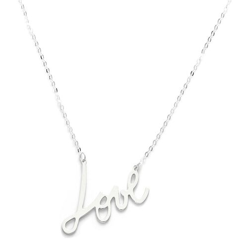 Viale Argento Sterling Silver LOVE Necklace (Size 18)