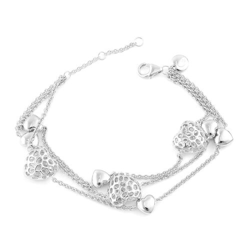 RACHEL GALLEY Rhodium Plated Sterling Silver Lattice Heart Triple Strand Bracelet (Size 7 With 1 Inch Extender), Silver wt. 15.65 Gms. Can Be Worn at 7, 7.5 and 8 Inch.