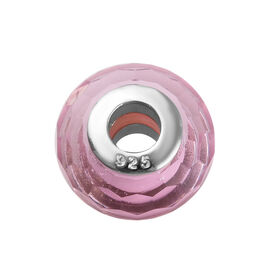 Charmes De Memoire Light Pink Murano Style Glass Bead Charm in Platinum Plated Silver 7.5 Inch