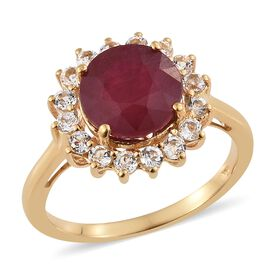 6.50 Ct African Ruby and White Topaz Halo Ring in 14K Gold Plated Silver