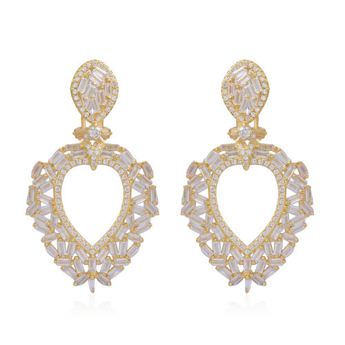 ELANZA Simulated White Diamond (Rnd) Earrings (with French Clip) in 14K Gold Overlay Sterling Silver
