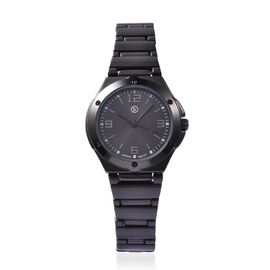 STRADA Japanese Movement Water Resistant Steel Watch - Black