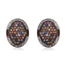 Rainbow Sapphire Cluster Stud Earrings in Sterling Silver 13.38 Grams With French Clip