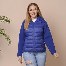 Winter Puffer Jacket with Hoodie in Blue