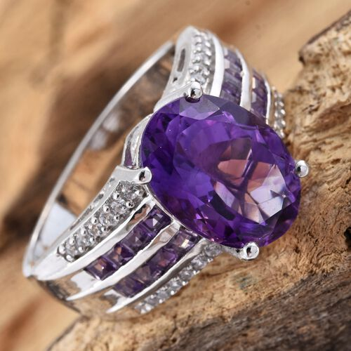 Moroccan Amethyst (Ovl 5.50 Ct), Amethyst and Natural Cambodian Zircon Ring in Platinum Overlay Sterling Silver 6.500 Ct. Silver wt 6.27 Gms.