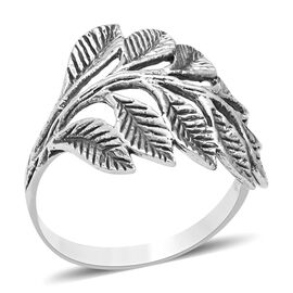ARTISAN CRAFTED - Sterling Silver Leaf Ring (Size O), Silver wt 3.67 Gms