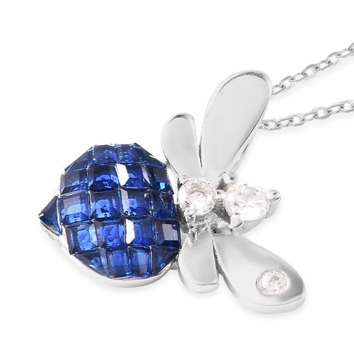 Lustro Stella - Mystery Setting Simulated Blue Sapphire and Simulated Diamond Dragonfly Pendant with Chain (Size 18) in Rhodium Overlay Sterling Silver