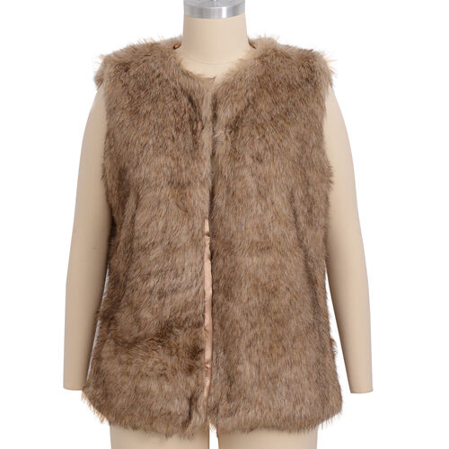Close Out Deal Luxe Super Soft Helson Faux Fur Brown and Black Colour Gilet (size12-size14 )