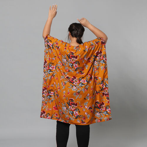 Multi Colour Floral Print Bohemian Look Long Kimono in Camel (Size up to 20)