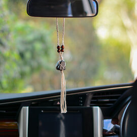 Handcrafted Macrame Car Hanging with Shungite (Size 33Cm Approx)
