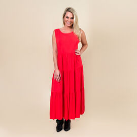 TAMSY 100% Viscose Open Back Midi Dress One Size,  (Fits Size 8-20  - Coral
