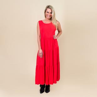 TAMSY Open Back Sleeveless Midi Dress - Coral