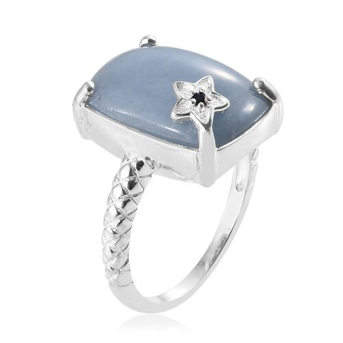 Extremely Rare Mexican Angelite (Cush 18x13mm), Kanchanaburi Blue Sapphire Ring in Sterling Silver 12.500 Ct.