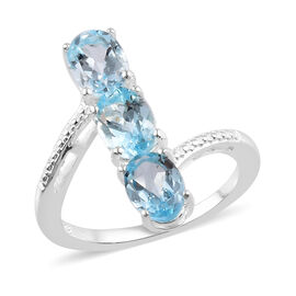 Sky Blue Topaz Three Stone Ring in Sterling Silver 2.75 Ct.