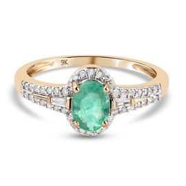 9K Yellow Gold AAA Boyaca Colombian Emerald and Diamond Ring 1.01 Ct.