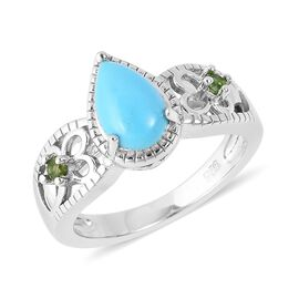 1 Carat Sleeping Beauty Turquoise and Russian Diopside Solitaire Ring in Sterling Silver 4.12 Grams