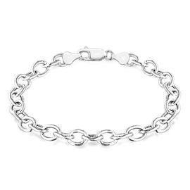 Sterling Silver Oval Belcher Bracelet (Size 8), Silver wt 6.10 Gms