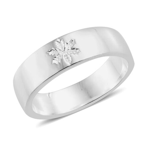 Sterling Silver Snowflake Band Ring, Silver wt 4.75 Gms.