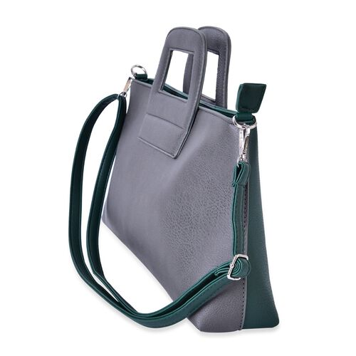 Grey and Green Colour Tote Bag with External Zipper Pocket and Adjustable and Removable Shoulder Strap (Size 41x35x20x9 Cm)