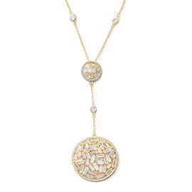 ELANZA Simulated Diamond (Rnd and Bgt) Necklace (Size 18 with 2 inch Extender) in 14K Gold Overlay S