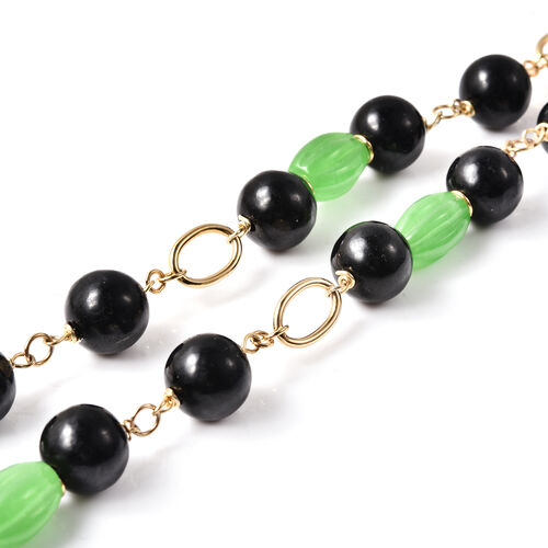Green and Black Jade, Natural Cambodian Zircon Necklace (Size 20)  in Yellow Gold Overlay Sterling Silver 206.00 Ct, Silver wt. 10.95 Gms