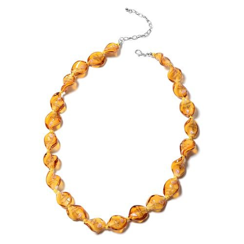 2 Piece Set - Champagne Colour Murano Glass Beads Necklace (Size 20 with 3 inch Extender) and Hook Earrings in Stainless Steel