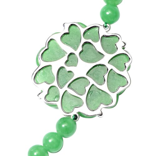Carved Green Jade and Russian Diopside Floral Bead Necklace (Size 18) in Rhodium Overlay Sterling Silver 293.29 Ct.