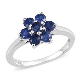 Burmese Blue Sapphire Flower Ring in Platinum Overlay Sterling Silver 1.000 Ct.