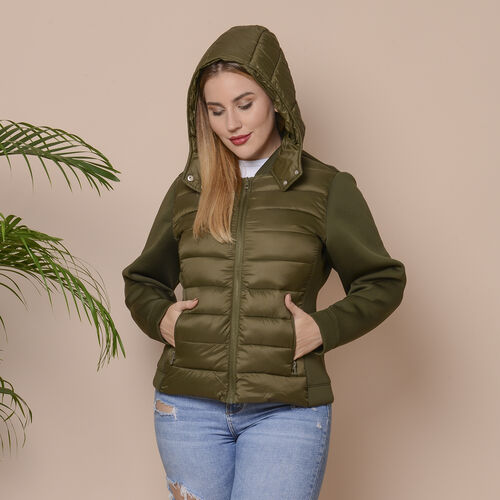 Winter Puffer Jacket with Hoodie in Olive Green (Size: S, 10-12)