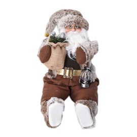 Christmas Decor - Santa Claus Sitting with Lantern and Gift Bag (Size 45 Cm) - Brown