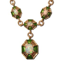 Ethiopian Welo Opal Enamelled Necklace (Size 20) in 14K Gold Overlay Sterling Silver 5.50 Ct, Silber