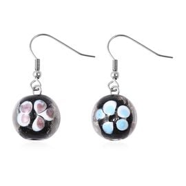 Black Colour Murano Glass Drop Hook Earrings in Stainless Steel