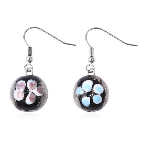 Black Colour Murano Glass Drop Hook Earrings in Stainless Steel