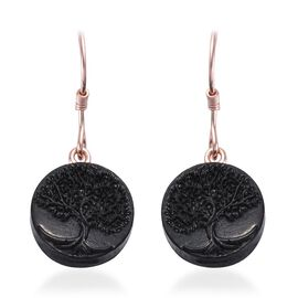 Elite Shungite Life of Tree Hook Earrings in Rose Gold Overlay Sterling Silver 10.680 Ct.