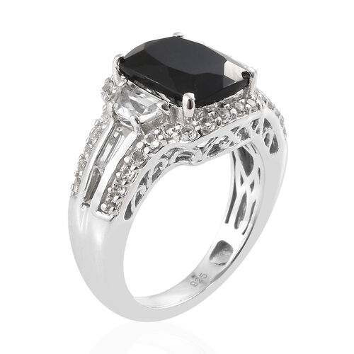 Black Tourmaline (Cush 3.25 Ct), White Topaz Ring in Platinum Overlay Sterling Silver 4.250 Ct, Silver wt 5.12 Gms.