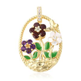 Jardin Collection White Mother of Pearl and Multi Gemstone Floral Pendant in Gold Plated Silver
