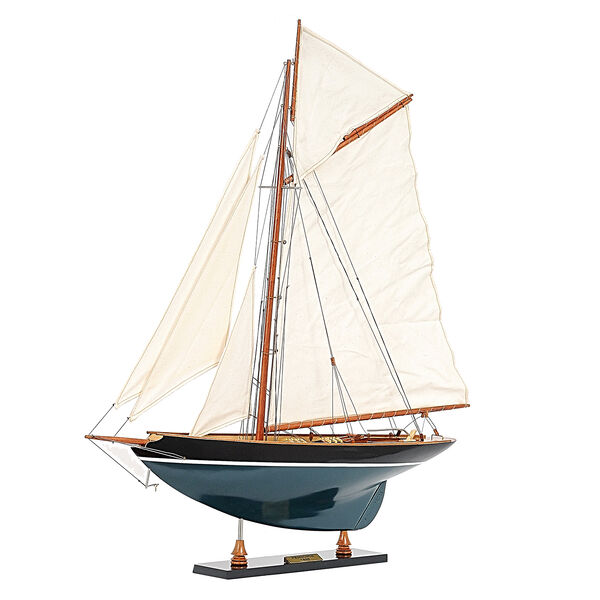 Decorative Pen Duick 1898 Boat Model in Red Cedar - Dark Green and Black (Size 67.3x12.7x78 Cm)