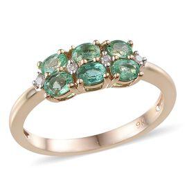 9K Y Gold Boyaca Colombian Emerald (Ovl), Diamond Ring 1.050 Ct.