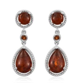 Baltic Amber (Pear), Madeira Citrine Earrings (with Push Back) in Platinum Overlay Sterling Silver 3.250 Ct. Silver wt 5.68 Gms.