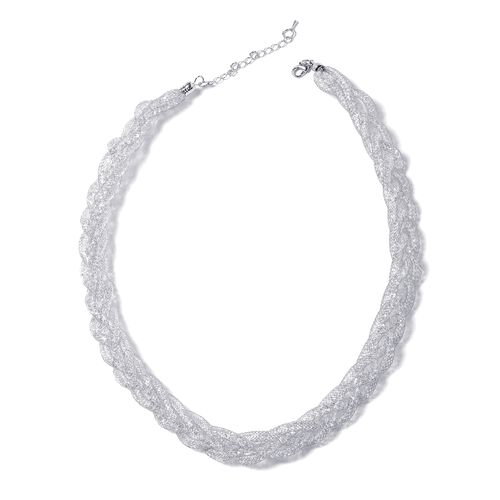 White Austrian Crystal (Rnd) Twisted Herringbone Necklace (Size 20 with 2 inch Extender) in Silver Tone