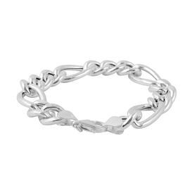 Italian Made Figaro Chain Bracelet in Rhodium Plated Silver 21.26 grams 8 Inch